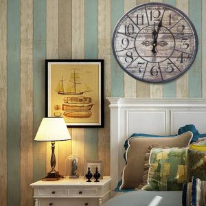 Vintage Analog Wood Round Mute Wall Clock - Bois