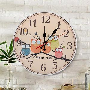 Owl Round Wood Analog Number Mute Wall Clock