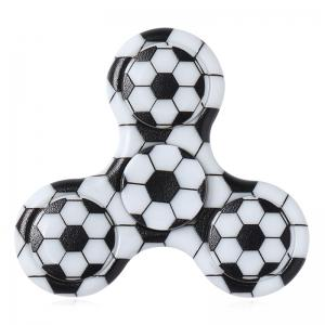 Fiddle Toy Plastic Tri-bar Soccer Patterned Fidget Spinner - Black White - 7*7*1.5cm