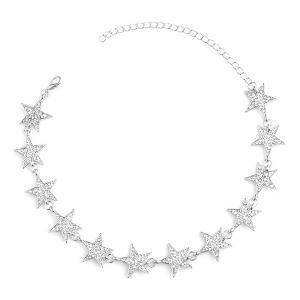 Rhinestoned Star Choker Necklace