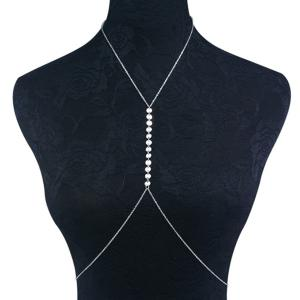 Adjustable Sequin Alloy Body Chain - Silver