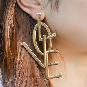 Statement Alloy Letter Love Earrings
