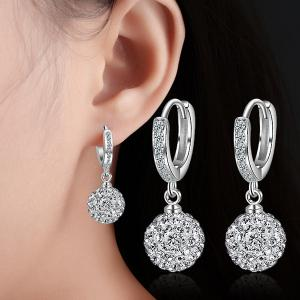 Silver Plated Rhinestoned Ball Drop Earrings