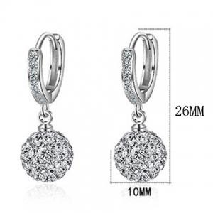 Silver Plated Rhinestoned Ball Drop Earrings - SILVER