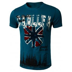 Graphic Printed Applique Distressed Tee - Green Blue - L