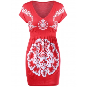 Empire Waist Mini Tribal Floral Printed Dress