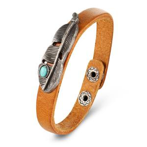 Artificial Turquoise Alloy Feather Buckle Bracelet
