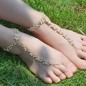 1PC Rhinestone Faux Pearl Chain Slave Anklet - Golden