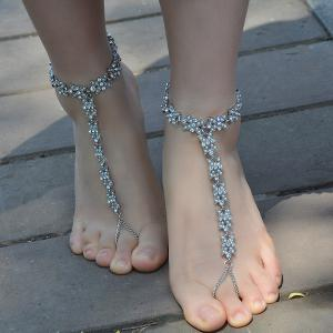 1PC Rhinestone Faux Pearl Chain Slave Anklet