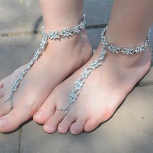 1PC Rhinestone Faux Pearl Chain Slave Anklet -