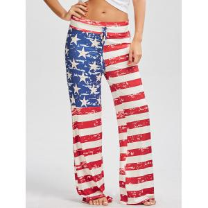 Drawstring American Flag Print Patriotic Pants - Red - Xl