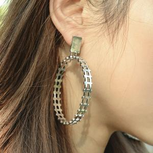 Statement Alloy Circle Drop Earrings