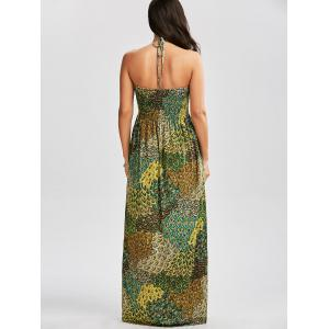 Halter Printed Shirred Dress with Accessory Design - COLORMIX L