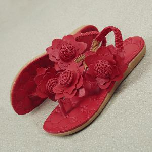 Elastic Band Flowers Faux Leather Sandals - RED 38