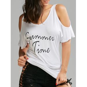 Cold Shoulder Graphic Print Tunic Tee