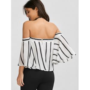 Off The Shoulder Smocked Striped Blouse - WHITE AND BLACK S
