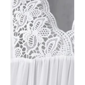 Lace Panel Cutwork Smock Blouse - WHITE 2XL
