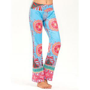 Wide High Waistband Print Straight Pants