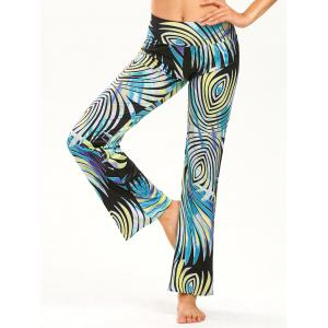 Elastic Wide Waistband Print Straight Pants