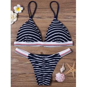 Padded Stripe Bikini Set - Purplish Blue - M