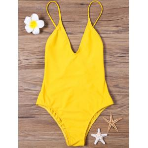 High Cut V Neck One Piece Swimsuit - Yellow - L
