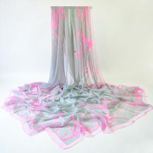 Lightsome Plain Branches Printing Shawl Scarf - Pink And Grey