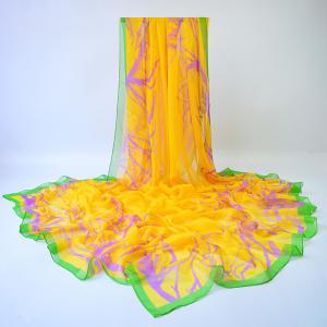 Lightsome Plain Branches Printing Shawl Scarf - Yellow