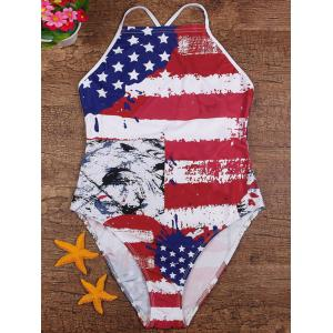 Lace-Up Cross Back American Flag Swimsuit