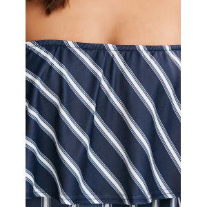 Flounce Striped Tube Romper - BLUE AND WHITE S