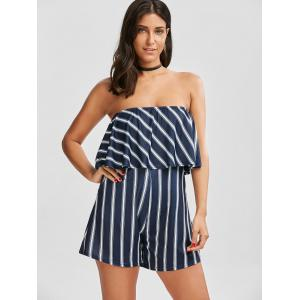 Flounce Striped Tube Romper -