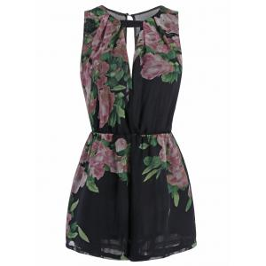 Sleeveless Cut Out Floral Print Romper - Black - S
