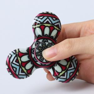 Fiddle Toy Plastic Tri-bar Mandala Patterned Fidget Spinner -