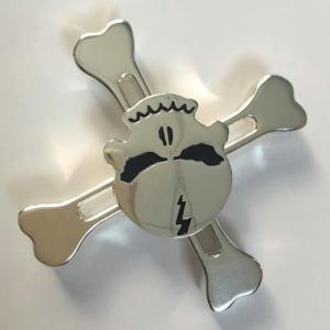 Skull Finger Gyro Stress Relief Toy Pirates Alloy Fidget Spinner - SILVER