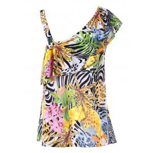 Tropical Ruffle Plus Size One Shoulder Top -