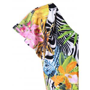 Tropical Ruffle Plus Size One Shoulder Top - COLORMIX 5XL