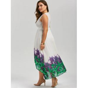 Plus Size Beach Printed Chiffon Long Flowy Dress - WHITE 3XL