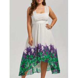 Plus Size Beach Printed Chiffon Long Flowy Dress - White - 3xl