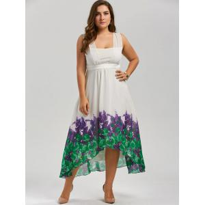 Plus Size Beach Printed Chiffon Long Flowy Dress - WHITE 5XL