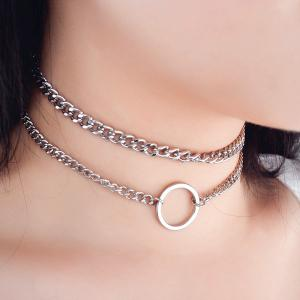 Alloy Chain Circle Necklace Set