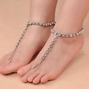 1PC Rhinestone Slave Chain Anklet - SILVER