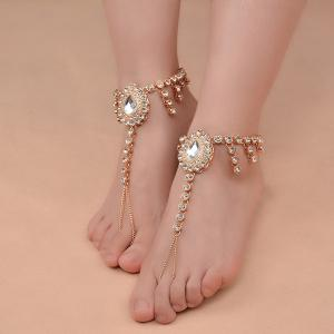 1PC Faux Gem Rhinestoned Teardrop Slave Anklet -