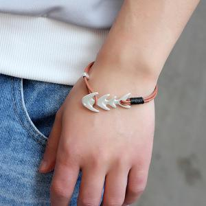 Artificial Leather Fishbone Cool Bracelet - Light Brown - 40