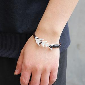Artificial Leather Fishbone Cool Bracelet