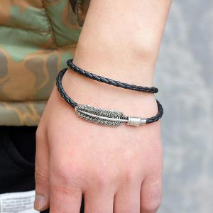 Artificial Leather Braid Rope Feather Bracelet