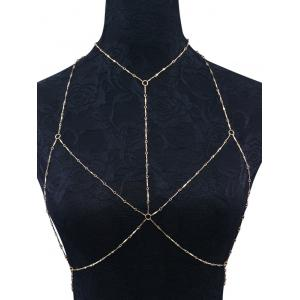Geometric Circle Embellished Bra Body Chain - Golden - One Size