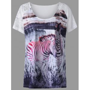 Plus Size Lace Insert Zebra Pattern T-shirt