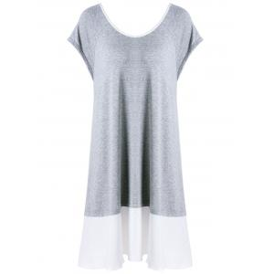 Plus Size Bowknot Decorated Flapper Tee Dress - GREY/WHITE 5XL