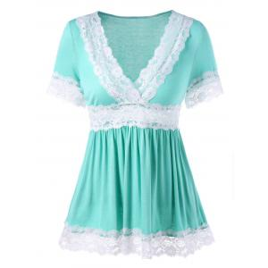 V Neck Lace Trim Peplum T-shirt