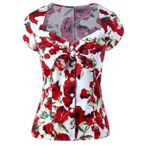Button Up Sweetheart Neck Floral Gothic Blouse - Red - Xl