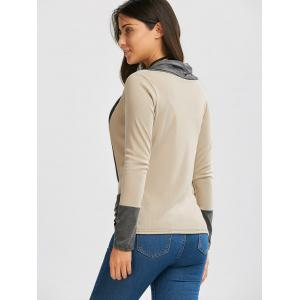 Ribbed Long Sleeve Wrap Top - BEIGE L